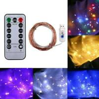 Fairy String Lights with Remote Control 50 LED Battery Power Copper lamp 5M set