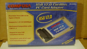 CompUSA USB 2.0 CardBus PC Card Adapter New Sealed Computer Mac Expansion Add On