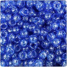 100 x Dark Sapphire Sparkle 9x6mm Barile Forma di qualità superiore Pony Beads