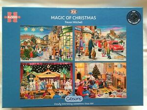 Brand New Gibsons 4 x 500 Piece Jigsaw Puzzles - THE MAGIC OF CHRISTMAS