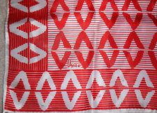 "Vintage Vera Neumann ""V"" Print Silk Scarf Red White Hand Rolled Edges Square"
