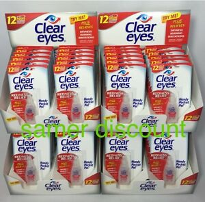 48 PACK OF CLEAR EYES  DROPS REDNESS RELIEF 0.2 OZ.6 ML EXP( 2023 )UP TO 12 HRS
