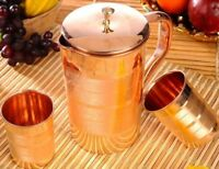 NEW! Pure Copper Jug and 2 Water Glasses Set for Ayurvedic Healing