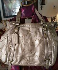 Coach Alexandra Studded Gold Leather Convertible Handbag