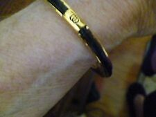 GUCCI ITALY Authentic Women's Bracelet Signed Goldplate/Black Lizard Inset!