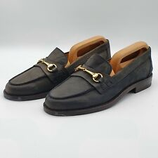 *Ex Display* Russell & Bromley UK 7 Lincoln Horsebit Loafers Blue Leather Shoes