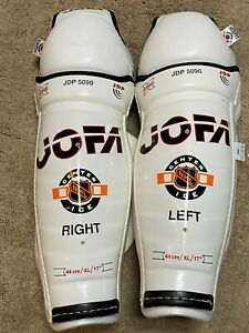 "St louis Blues JOFA 5090 Pro Stock Center Ice 17"" shin guards BRAND NEW hockey"