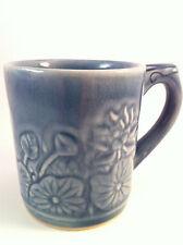 SIAM CELADON WOOD ASH GLAZE Mug/Cup - Beautiful Blue w/Flowers