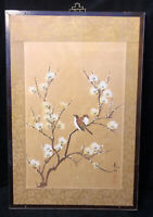 Vintage Chinese Watercolor Ink Painting on Silk Wood Panel Signed Red Chop Seal