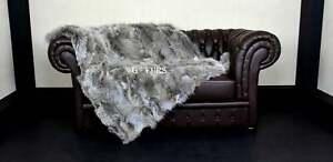 Luxury Real Gray Coyote Fur Throw Blanket