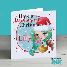 Personalised Mermaid Christmas Card - Mermagical Christmas - Cute Mermaid Card
