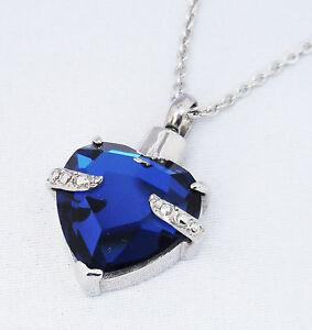 "Cremation Ashes Jewellery Keepsake Necklace Urn ""Blue Embrace Heart"""