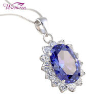"925 Sterling Silver Oval Blue Tanzanite White Topaz Pendant 18"" Chain Necklace"