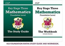 KS3 FOUNDATION MATHS STUDY GUIDE TESTBOOK & ANSWER  BOOK 3 IN 1 BUNDLE