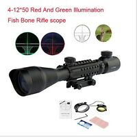 Hunting 4-12X50 EG Rifle Scope Red Green Dual illuminated with Side Rail Mount