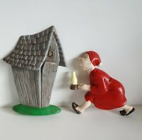 """Vintage Arnels Chalkware Wall Hanging """"Race To The Outhouse"""" Old Man"""