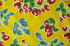YELLOW STRAWBERRY FOREVER RETRO KITCHEN DINING OILCLOTH VINYL TABLECLOTH 48x72