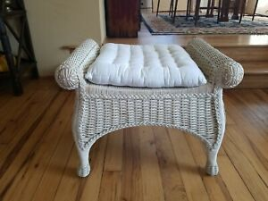 Pier 1 Jamaica Collection Wicker Rattan Bench Vanity Chair Ottoman Excellent!