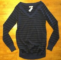 NWT Old Navy Women's Blue & Black Striped V-Neck Sweater - Size: XS