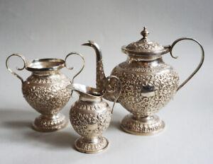 19th C. ANTIQUE INDIA INDIAN SILVER TEA SERVICE TEAPOT SET