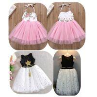 Kids Baby Girls Floral Princess Dress Glittery Star Printed Halter Tutu Skirts