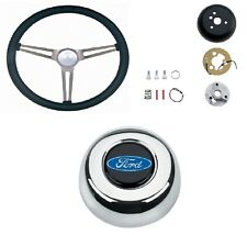 Grant Nostalgia Black Steering Wheel/Installation Kit/Blue Horn Button for F-150