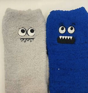 EX CHAINSTORE ( NEXT ) KIDS FLUFFY / BED MONSTER SOCKS WITH GRIPPERS * 2 PAIRS *
