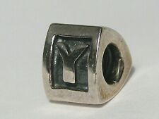 """Pandora """"ALE"""" .925 Sterling Silver Charm: Letter Initial """"Y"""" Block Bead.  #115"""