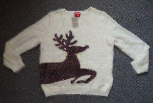 Ladies Fluffy Sparkly Reindeer Christmas Bells Jumper Size 16 BNWT