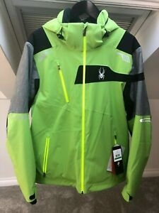 Mens Large Spyder Titan Quest Ski Jacket BNWT (Fresh Green/Polar/Black)