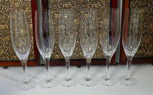 Six vintage Orrefors Prelude pattern Swedish champagne flutes / glasses (set #2)