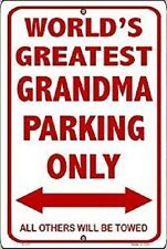 """World's Greatest Grandma Parking Only 8""""x12"""" Metal Plate Parking Sign"""