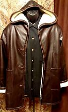 ~LEARSI Brown Reportage Leather Hooded Jacket,Coat,Harley,Trench,Pull over.Med,M