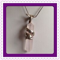 """Sterling Silver 925 Rosequartz Dolphine Necklace 19"""" Long"""