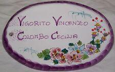 Targa targhetta per porta portone in ceramica Vietri dec Capri Viola