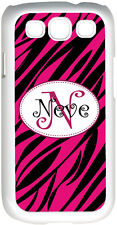 Curlz Monogrammed Fuchsia Pink and Black Zebra Design on Samsung Galaxy S3 Case