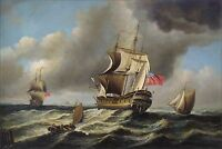 Quality Hand Painted Oil Painting An East Indiaman 24x36in