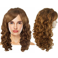 Rockabilly Long Curly Brown Wavy Wig Country Girl Vintage Party Costume HW-3643
