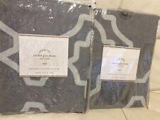 Pottery Barn 2 Trisha Geo Euro Shams New! 100% Cotton Gray