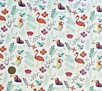 WHITE WITH TOUCANS, COCKATOOS & FLAMINGOS - COTTON FABRIC FQ'S
