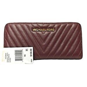 Michael Kors Susannah Continental Wallet Quilted Zip Around MERLOT - NWT - $158