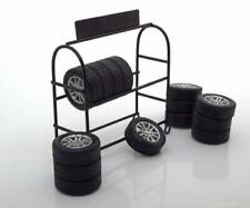 1:18 American Diorama tire rack with 14 rims black