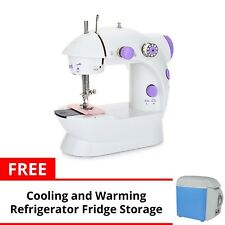 Portable Sewing Machine (White/Purple) with 7.5L Portable Refrigerator 12V