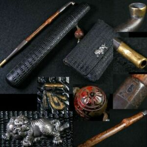 Gold and Silver Crest Bamboo Smoke Tube Leather Cigarette Lion Metal Fittings