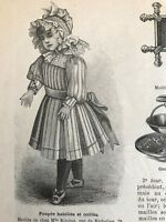 French MODE ILLUSTREE SEWING PATTERN Nov 1,1891 EVENING DRESS, DOLL DRESSES