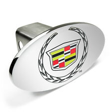 """Cadillac Logo Chrome Metal 2""""x2"""" Tow Hitch Cover with Secure Locking Pin"""