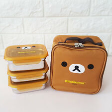 Rilakkuma Stainless 3 Layers Bento Lunch Box Food Container With Insulation Bag
