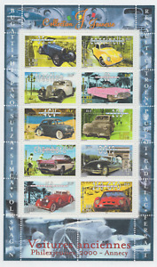 Bloc timbres 30 = Voitures Anciennes = Neuf **