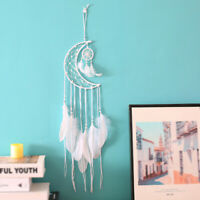 Handmade Dream Catcher With Feather Wood Beads Wall Car Hanging Decor Ornament