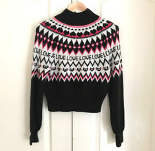 H&M Women Sweater XS Crop Black Pink White Geometric Love Banded Long Sleeve New
